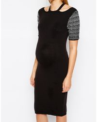 Asos Maternity Knitted Body-Conscious Dress With Cut Out Detail - Lyst