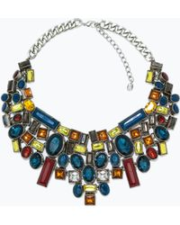 Zara Necklace with Geometric Rhinestones - Lyst