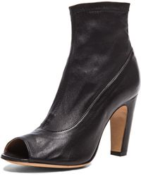 Maison Margiela Stretch Leather Open Toe Booties - Lyst