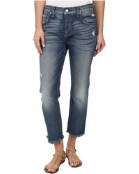 7 For All Mankind Relaxed Skinny W/ Raw Hem In True Heritage Blue - Lyst