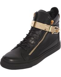 Giuseppe Zanotti Homme Metal Plaque Nappa Leather Sneakers - Lyst