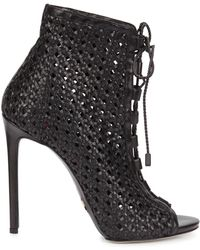 Daniele Michetti - Black Woven Leather Lace-up Boots - Lyst