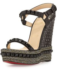 Christian Louboutin Cataclou Studded Red Sole Wedge Sandal black - Lyst