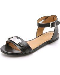 Marc By Marc Jacobs Plaque Belt Flat Sandals - Black - Lyst