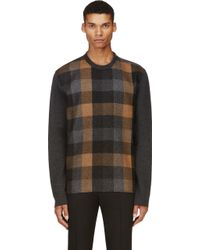 Lanvin Grey Felted Wool Check Sweater - Lyst