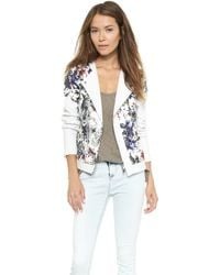 Rebecca Taylor Grey Gardens Matelasse Leather Jacket Blackwhite - Lyst