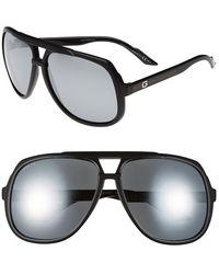 Gucci Women'S Vintage Inspired Stripe 63Mm Aviator Sunglasses - Matte Black/ Black Mirror - Lyst