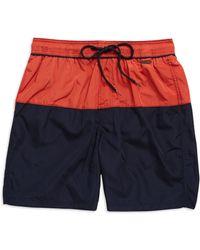 Calvin Klein Colorblocked Swim Trunks red - Lyst