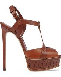 Casadei   Leather Platform Sandals   Lyst