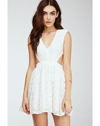 Forever 21 Floral Lace Cutout Dress - Lyst