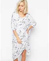 Just Female Earth Dress In Marble Print - Lyst
