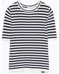 Zara Round Neck Sweater blue - Lyst