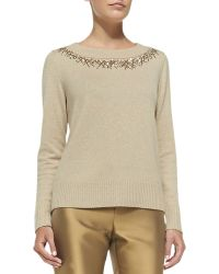 Lafayette 148 New York Metallic Sweater With Sequined Trim - Lyst