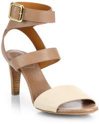 Chloé Bicolor Leather Ankle Strap Sandals - Lyst