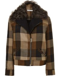 Rodarte Shearling-trimmed Wool-blend Jacket - Lyst