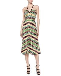 M Missoni Striped Halter Knee-length Dress - Lyst