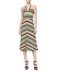 M Missoni Striped Halter Knee-Length Dress - Lyst