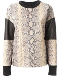 Emanuel Ungaro Leather Panel Snakeskin Print Sweatshirt - Lyst