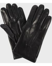 Paul Smith Black Leather Wool Lined Gloves - Lyst