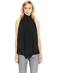 Vince Camuto Ruched Mock Neck Blouse - Lyst