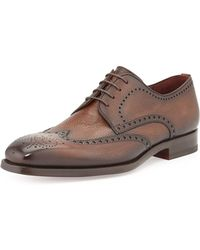 Magnanni For Neiman Marcus Pebbled Leather Wing-Tip - Lyst