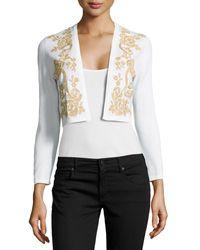 Carolina Herrera Embellished Knit Bolero Cardi - Lyst