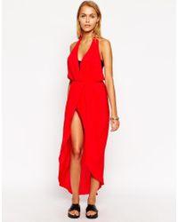 Asos Plunge Halter Neck Maxi Beach Dress - Lyst