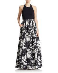 Aidan Mattox Floral-Print Halter Gown - Lyst