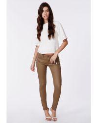 Missguided - Ayda Low Rise Zip Detail Skinny Jeans Tan - Lyst