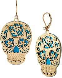 Betsey Johnson Layered Cut-Out Skull Drop Earrings - Lyst