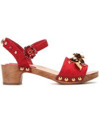Dolce & Gabbana Embellished Brocade Sandals - Lyst