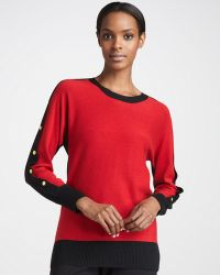 Eileen Fisher Colorblocked Button-sleeve Sweater - Lyst