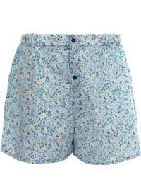 Liberty - Light Blue Cotton Boxer Shorts - Lyst