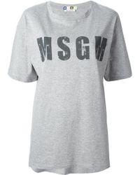 MSGM Logo Print T-Shirt - Lyst