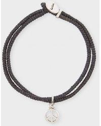 Paul Smith - Men's Black Sterling Silver 'peace' Charm Bracelet - Lyst