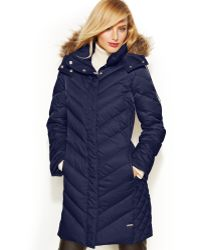 Kenneth Cole Reaction Hooded Fauxfurtrim Quilted Down Puffer Coat - Lyst