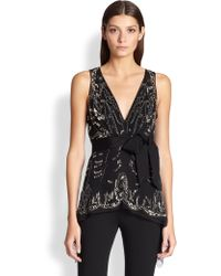Donna Karan New York Embroidered Silk Blouse black - Lyst