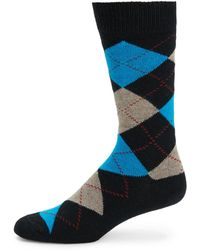 Saks Fifth Avenue Black Label - Argyle Cashmere-blend Mid-calf Socks - Lyst