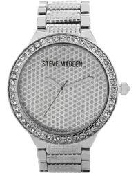 Steve Madden - Womens Silvertone Bracelet Watch 48mm 02 - Lyst