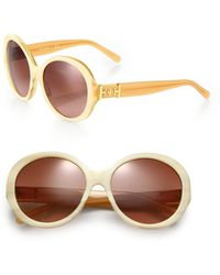 Tory Burch 56Mm Tortoiseshell Acetate Round Sunglasses - Lyst