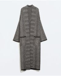 Zara Studio Herringbone Coat - Lyst