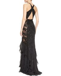 Emilio Pucci Beaded Lace Sheer Panel Gown - Lyst