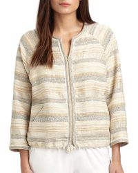 L'Agence Striped Drawstring Jacket - Lyst