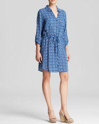 Velvet By Graham & Spencer Shirt Dress - Printed Tie Waist - Lyst