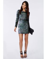 Missguided Ivy Mermaid Sequin Long Sleeve Mini Dress Green - Lyst