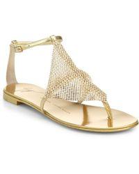 Giuseppe Zanotti Crystal-Paneled Metallic Leather Sandals - Lyst