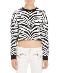 Emanuel Ungaro Zebra & Madame Du Barry Cropped Sweatshirt - Lyst