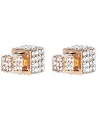 River Island Gold Tone Diamante Encrusted Cube Earrings - Lyst