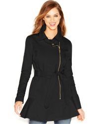 Kensie - Asymmetrical-Zip Peplum Trench Coat - Lyst