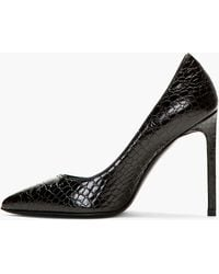 Saint Laurent Black Croc_embossed Leather Paris Pumps - Lyst